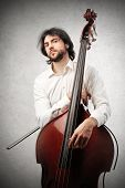 young musician with contrabass