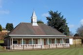 Bowling green pavilion with blue sky background, Scarborough, England.