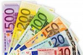 many different euro bills. photo icon for wealth and investments.