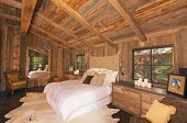 image of log cabin  - Luxurious Rustic Log Cabin Interior  - JPG
