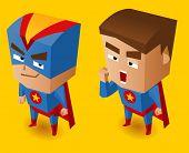 Two Blue superheroes. Vector Illustration