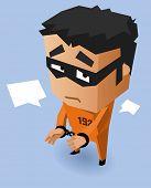 Convict on Orange uniform. Vector Illustration