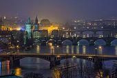 aerial night view on bridges in Prague, Czech Republic