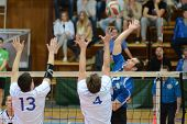 KAPOSVAR, HUNGARY - APRIL 15: Andras Geiger (in blue) in action at a Hungarian National Championship