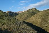 Centuripe rocky village on range mountains of sicilian hinterland