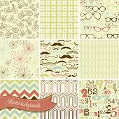 Hipster retro seamless backgrounds, mustaches, spectacles, numbers, bicycles