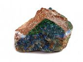 Azurite deep blue copper mineral rock