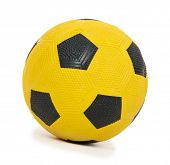 Children's yellow football ball, isolated on white