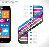Modern Infographic with a touch screen smartphone in the middle. Design elements and space for text