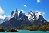 Epic beauty of the landscape - the National Park Torres del Paine in southern Chile. Cliffs of Los K