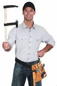 Man holding a clamp