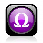 omega black and violet square web glossy icon