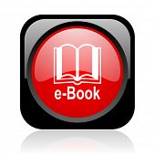 e-book black and red square web glossy icon