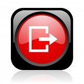 exit black and red square web glossy icon