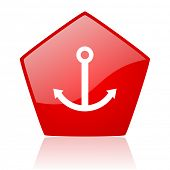 anchor red web glossy icon