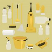 Set of Cleaning Supplies and Tools, including vacuum cleaner, mop, brushes, bucket, plastic gloves a