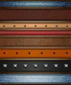 Set of realistic leather, shammy and denim stripes - eps10