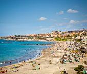 Beautiful send beach in Adeje Playa de las Americas on Tenerife, Spain.