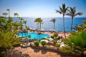 Panoramic view on  Las Cuevitas in Costa Adeje cost,  Tenerife, Spain.