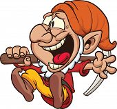 stock photo of  midget elves  - Cartoon laughing dwarf - JPG