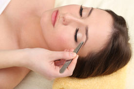 image of beauty parlour  - Beautiful young woman in cosmetic salon close up - JPG
