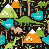 Seamless baby dinosaur animal and trees illustration background pattern in vector