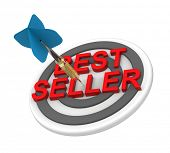 The concept of bestseller sign. Computer generated 3D photo rendering.