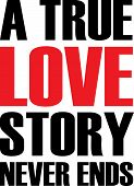 a true love story never end text quote design