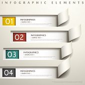 stock photo of colorful banner  - realistic vector abstract 3d paper infographic elements - JPG