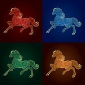 Set Of Vintage Horse Silhouette On Colored Background