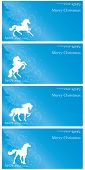 Background With Horse Silhouette And Christmas Tree, Vintage Set