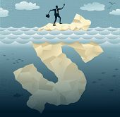 foto of iceberg  - Great illustration of Retro styled Businessman Abstract Businessmen climbing on top of the Tip of the Dollar Iceberg - JPG