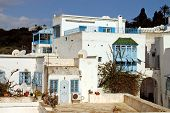 The Backyard Of A House In Sidi Bou Said In Tunis