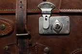 picture of old suitcase  - Vintage brown leather suitcase - JPG