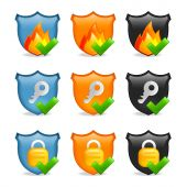 Internet Security Icon Shield Set