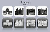 Landmarks of France. Set of monochrome icons. Editable vector illustration.
