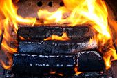 image of briquette  - wooden briquettes for BBQ - JPG