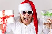 Man Wearing Santa Claus Hat