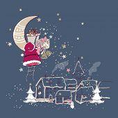 santa claus climbing to the moon