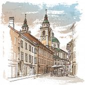 Vector drawing of central street of old european town, Ljubljana