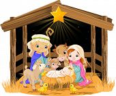 Christmas nativity scene with holy family.