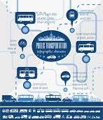 stock photo of motor-bus  - Flat Transportation Infographic Elements plus Icon Set - JPG