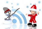 Wifi Symbol Presented By Snowman And Santa Claus