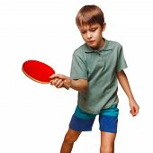push boy blond man table tennis children playing forehand takes