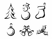 Collection of Christmas elements. Vector black silhouettes.