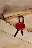 image of deed  - old paper ancient parchment scroll envelope with wax seal - JPG