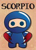 Zodiac sign Scorpio with cute black ninja character, vector