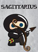 Zodiac sign Sagittarius with cute black ninja character, vector