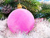 Pink velvety New Year's ball