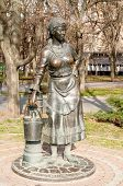 Sculpture Of The Girl With Bucket Near The Pump As A Rostov  Water Supply Company Symbol, Opened At